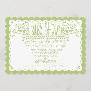 Papel Picado Baby Girl Shower Pink Lime Fiesta Invitation