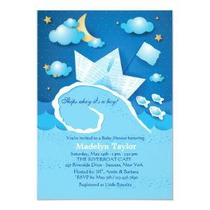 Paper Sailboat Baby Shower Invitation