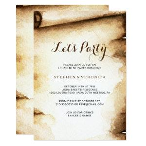 Paper Scroll Rustic Country Let's Party Invitation