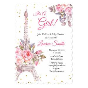 Paris Baby Shower Invitation Eiffel Tower