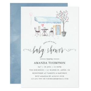 Paris Cafe Watercolor Baby Shower Invitation