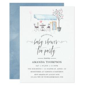 Paris Cafe Watercolor Baby Shower Tea Party Invitation