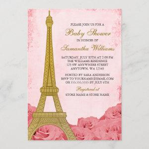 Paris Eiffel Tower Roses Pink Gold Baby Shower Invitation