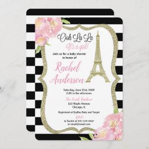Paris French baby shower invitation girl pink gold