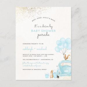 Pastel Blue Balloons Car Drive By Boy Baby Shower Invitation Postcard