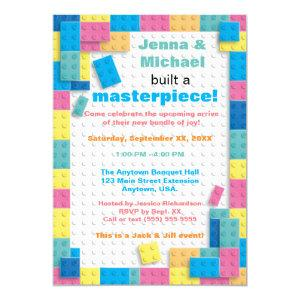 Pastel Building Blocks Baby Shower Invitation