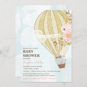 Pastel Floral & Gold Hot Air Balloon Baby Shower