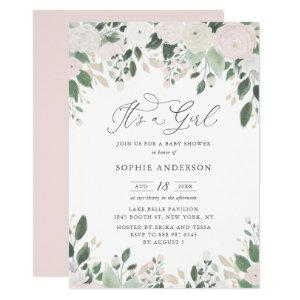 Pastel Flowers Glitter It's a Girl Baby Shower Invitation