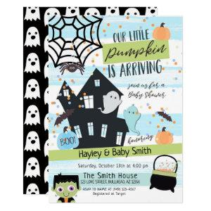 Pastel Halloween Watercolor Baby Shower Invitation