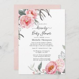 Pastel Pink and Grey Boho Floral Drive By Shower Invitation