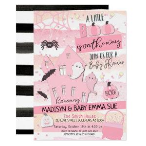 Pastel Pink Lil Boo Halloween Baby Shower Invitation