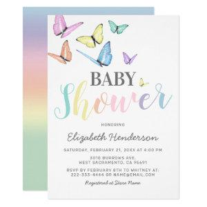 Pastel Rainbow Butterflies Baby Shower Invitation