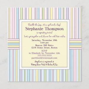 Pastel Stripes Twins Baby Shower Invitation