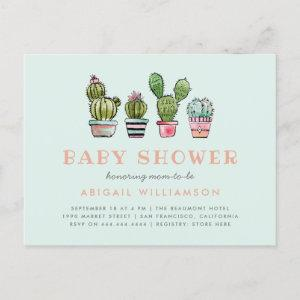 Pastel Watercolor Succulent Cactus Baby Shower Invitation Postcard