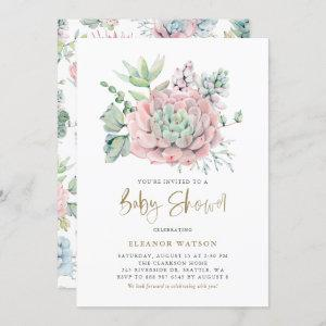 Pastel Watercolor Succulents Girl Baby Shower Invitation