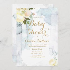 Pastel yellow green watercolor floral Baby Shower Invitation