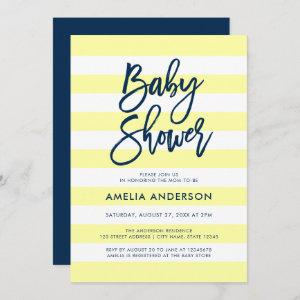 Pastel Yellow & White Stripes Blue Baby Shower Invitation