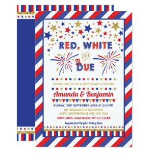 Patriotic 4th July Baby Shower Red White and Due Invitation