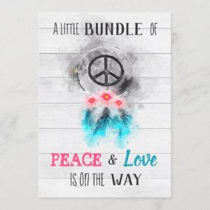 *~* Peace & Love Hippy Rustic Baby Neutral Shower Invitation