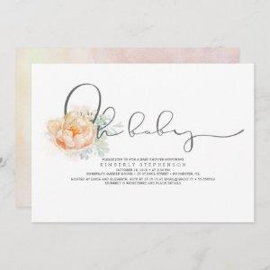 Peach and Cream Floral Script Baby Shower
