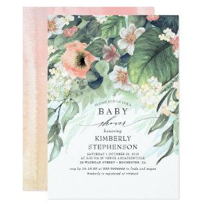 Peach and Pink Floral Elegant Baby Shower Invitation