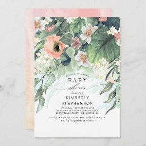 Peach and Pink Floral Elegant Baby Shower