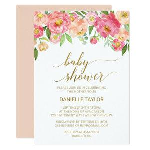 Peach and Pink Peony Flowers Baby Shower Invitation