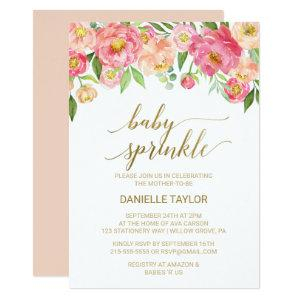 Peach and Pink Peony Flowers Baby Sprinkle Invitation