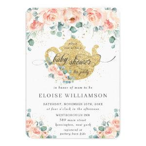 Peach Floral Rose Greenery Baby Shower Tea Party Invitation
