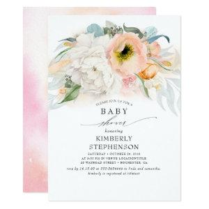 Peach White and Pink Floral Bohemian Baby Shower Invitation