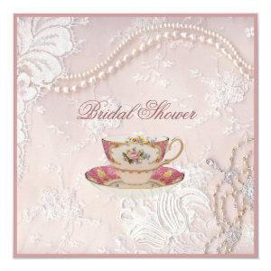 Pearl Blush pink lace bridal Tea Party Invitation