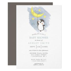 Penguin Moon Winter  Watercolor Baby Shower Invitation