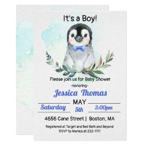 Penguin Winter Boy Baby Shower Invitation