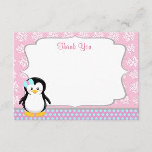 Penguin Winter Snowflake Thank You Cards