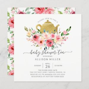 Peonies Rose Floral Baby Shower Tea Invitation