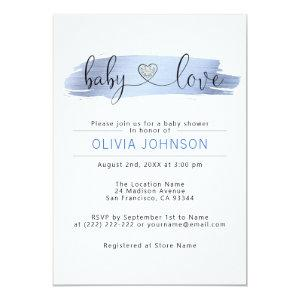 Personalized Baby Love Blue White BOY Baby Shower Invitation