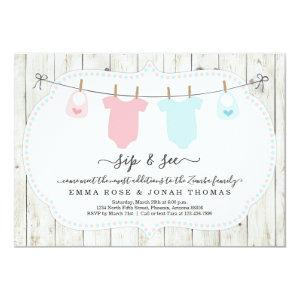 Personalized Boy & Girl Twins Sip & See Invitation