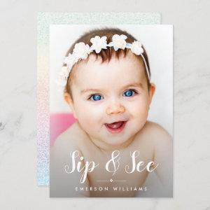 Photo Rainbow Glitter Sip and See Baby Shower Invitation