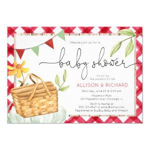 Picnic baby shower, picnic in the park red gingham invitation