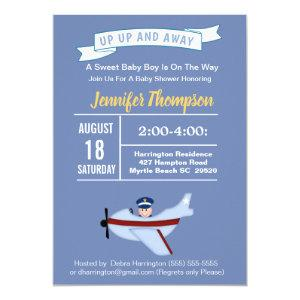Pilot and Airplane Baby Shower Invitation