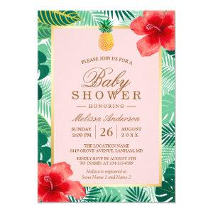 Pineapple Blush Pink Tropical Baby Shower Invitation