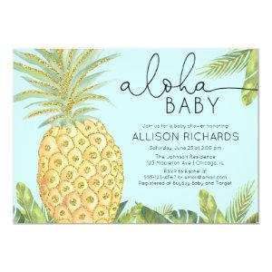 Pineapple boy or gender neutral baby shower invitation