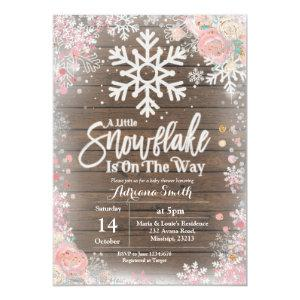 Pink A little snowflake is on the way baby shower Invitation