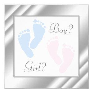 Pink and Blue Baby Feet Gender Reveal Invitation