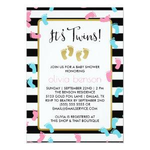 Pink and Blue Gold Footprints Twins Baby Shower Invitation
