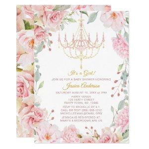 Pink and Gold Chandelier Floral Rose Baby Shower Invitation