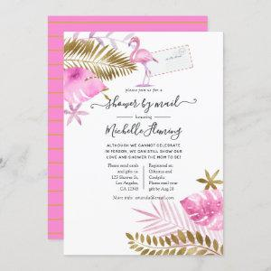 Pink and Gold Flamingo Girl Baby Shower by Mail Invitation
