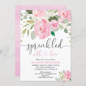 Pink and gold floral baby sprinkle girl invitation