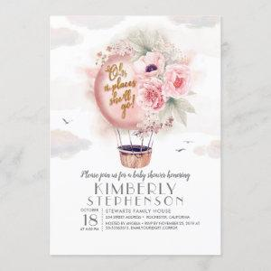 Pink and Gold Floral Hot Air Balloon Baby Shower