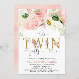 Pink and gold floral twin girls baby shower